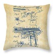 1911 Automatic Firearm Patent Artwork - Vintage Throw Pillow by Nikki Marie Smith