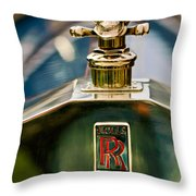 1912 Rolls-royce Silver Ghost Cann Roadster Skull Hood Ornament Throw Pillow