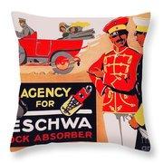 1913 - Geschwa Automobile Shock Absorber Adbertisement - Color Throw Pillow