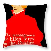 1913 - Mcclures Magazine Poster Advertisement - Ellen Terry - Color Throw Pillow