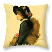 1913 - Detroit Free Press - Sunday Magazine Cover - Color Throw Pillow