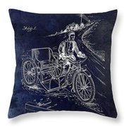 1913 Motorcycle Side Car Patent Blue Throw Pillow