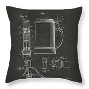 1914 Beer Stein Patent Artwork - Gray Throw Pillow
