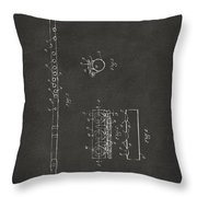 1914 Flute Patent - Gray Throw Pillow