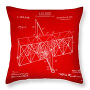 1914 Wright Brothers Flying Machine Patent Red Throw Pillow