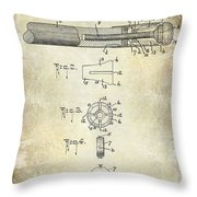 1915 Billiard Cue Patent Drawing  Throw Pillow