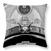 1915 Chevrolet Touring Hood Ornament - Moto Meter Throw Pillow