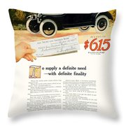 1916 - Willys Overland Roadster Automobile Advertisement - Color Throw Pillow