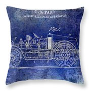 1916 Automobile Fire Apparatus Patent Drawing Lt Blue Throw Pillow
