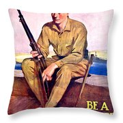 1917 - United States Marines Recruiting Poster - World War One - Color Throw Pillow