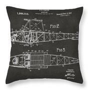 1917 Glenn Curtiss Aeroplane Patent Artwork 2 - Gray Throw Pillow