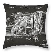 1917 Glenn Curtiss Aeroplane Patent Artwork 3 - Gray Throw Pillow