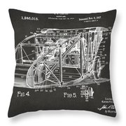 1917 Glenn Curtiss Aeroplane Patent Artwork 3 - Gray Throw Pillow