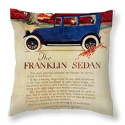 1919 - Franklin Sedan Advertisement - Color Throw Pillow
