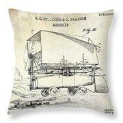 1919 Airship Patent Drawing Throw Pillow