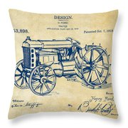 1919 Henry Ford Tractor Patent Vintage Throw Pillow
