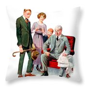 1920 - Life Magazine Cover - Engagement - J F Kernan - January 29 - Color Throw Pillow