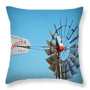 1920 Aermotor Windmill Throw Pillow