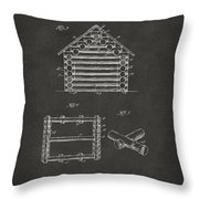 1920 Lincoln Log Cabin Patent Artwork - Gray Throw Pillow