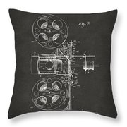 1920 Motion Picture Machine Patent Gray Throw Pillow
