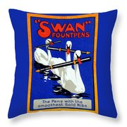 1920 Swan Fountain Pens Throw Pillow