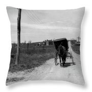 1920s 1930s Amish Man Driving Buggy Throw Pillow