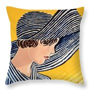 1920s Sun Hat Throw Pillow