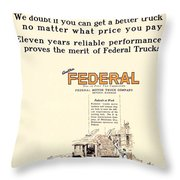 1921 - Federal Truck Advertisement - Color Throw Pillow