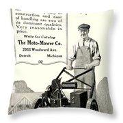 1921 - Moto Mower Lawnmower Advertisement Throw Pillow