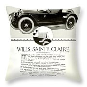 1921 - Wills Sainte Claire Automobile Roadster Advertisement Throw Pillow