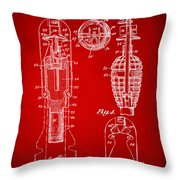 1921 Explosive Missle Patent Minimal Red Throw Pillow