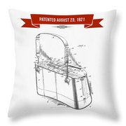 1921 Trout Basket Patent Drawing - Red Throw Pillow