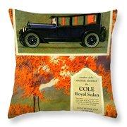 1923 - Cole Royal Sedan - Advertisement - Color Throw Pillow