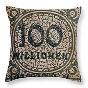 1923 100 Million Mark German Stamp Throw Pillow