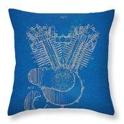 1923 Harley Davidson Engine Patent Artwork - Blueprint Throw Pillow by Nikki Smith