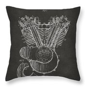 1923 Harley Engine Patent Art - Gray Throw Pillow