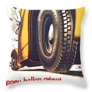 1924 - Dunlop Tires French Advertisement Poster - Color Throw Pillow