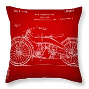1924 Harley Motorcycle Patent Artwork Red Throw Pillow by Nikki Marie Smith