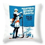 1924 Montreal Winter Sports Poster Throw Pillow