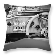 1925 Aston Martin 16 Valve Twin Cam Grand Prix Steering Wheel -0790bw Throw Pillow