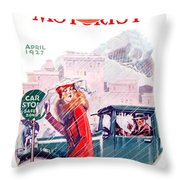 1927 - American Motorist A A A  April Magazine Cover - Color Throw Pillow