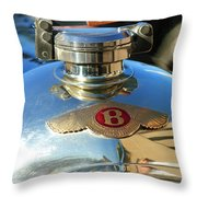 1927 Bentley Hood Ornament Throw Pillow