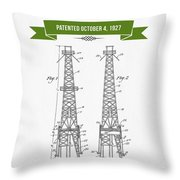 1927 Oil Well Rig Patent Drawing - Retro Green Throw Pillow