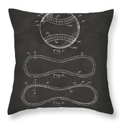 1928 Baseball Patent Artwork - Gray Throw Pillow