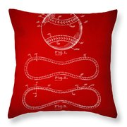 1928 Baseball Patent Artwork Red Throw Pillow