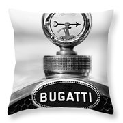 1928 Bugatti Type 44 Cabriolet Hood Ornament - Emblem Throw Pillow