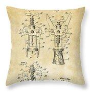 1928 Cork Extractor Patent Art - Vintage Black Throw Pillow