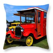 Popcorn Truck Throw Pillow
