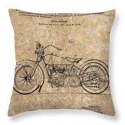 1928 Harley Davidson Motorcyle Patent Illustration Throw Pillow