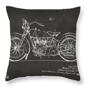 1928 Harley Motorcycle Patent Artwork - Gray Throw Pillow by Nikki Marie Smith